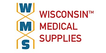 WMS Wisconsin Medical Supplies Logo WMS in DNA strand next to Wisconsin Medical Supplies