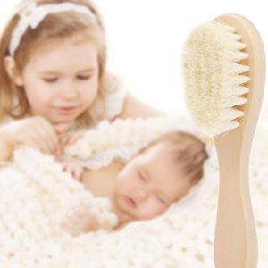 Anself Nuevo Bebé Cepillo de Pelo Peine Mango de Madera Recién Nacido Cepillo para el Cabello Infantil Peine de Lana Suave Cuero Cabelludo Masaje