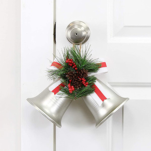 AuldHome Wall Hanging Silver Bells; Vintage Rustic Christmas Bells Christmas Decoration