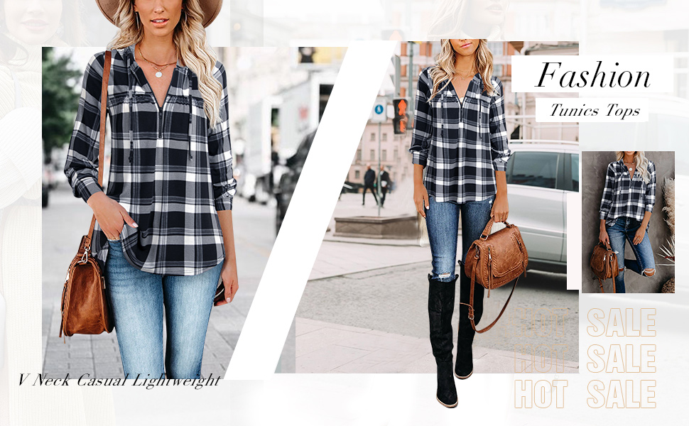 plaid shirts for women long tops for leggings for women ladies tunic tops long sleeve pullover tunic