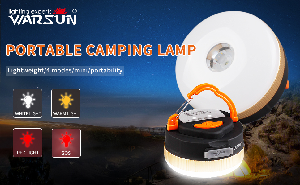 Rechargeable,Waterproof 3 Light Mode WARSUN Camping Lantern Portable LED Tent Light with Retractable Hook Camping Equipment for Outdoor Indoor