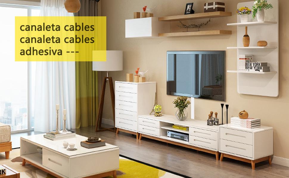Canaletas para cables 2.4m| Canaleta Cables Adhesiva Blanco| Usado para ocultar cables pared TV para Home Office: Amazon.es: Bricolaje y herramientas