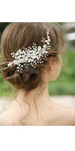 Bridal Flower Hair Wear Wedding Crystal Imitation Pearl Clip Slide Accessory CB