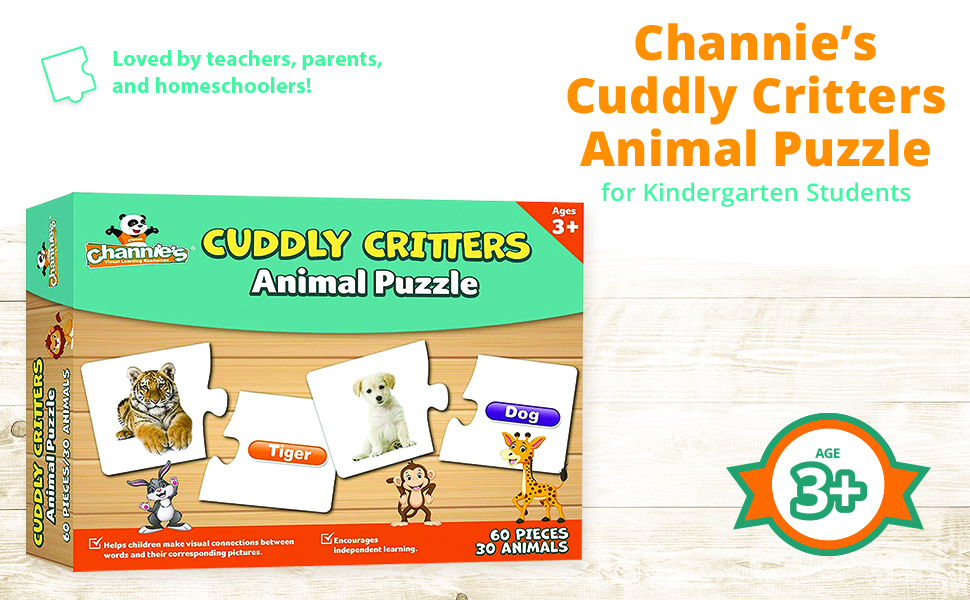 Cuddly Critters Animal Puzzle for Kindergarten Students Loved by teachers, parents and homeschoolers
