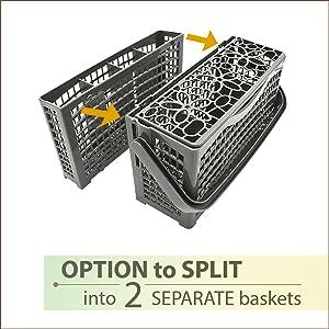 dishwasher utensil basket split into 2