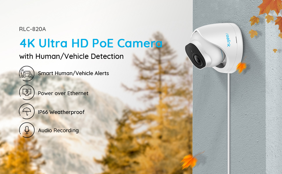 RLC-820A Smart Security Camera with Person/Vehicle Detection