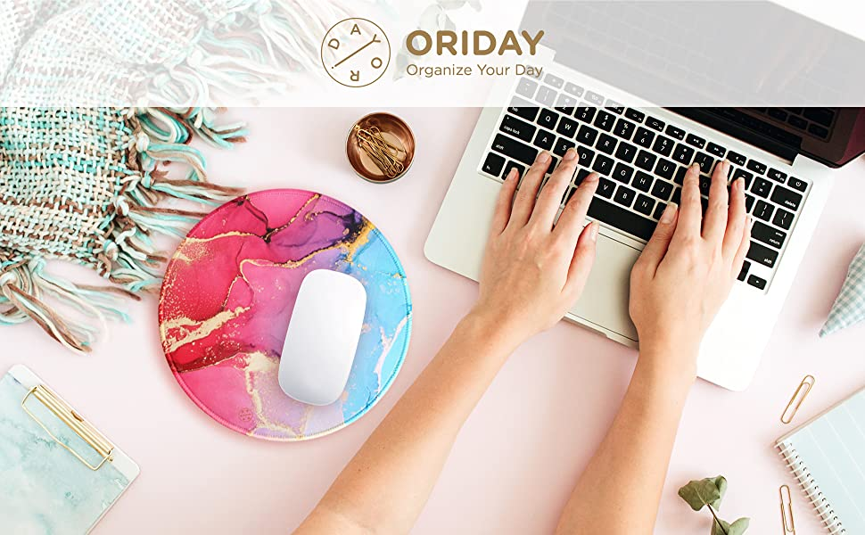 ORIDAY NON SLIP MOUSE PAD TEAL OCEAN RUBBER BASE ROUND MOUSE PAD