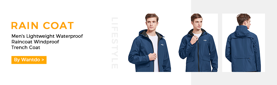 Wantdo Men's Raincoat Packable Sportswear
