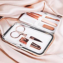 rose gold manicure set for girls women case pink teen gift beauty pedicure nail kit stainless steel