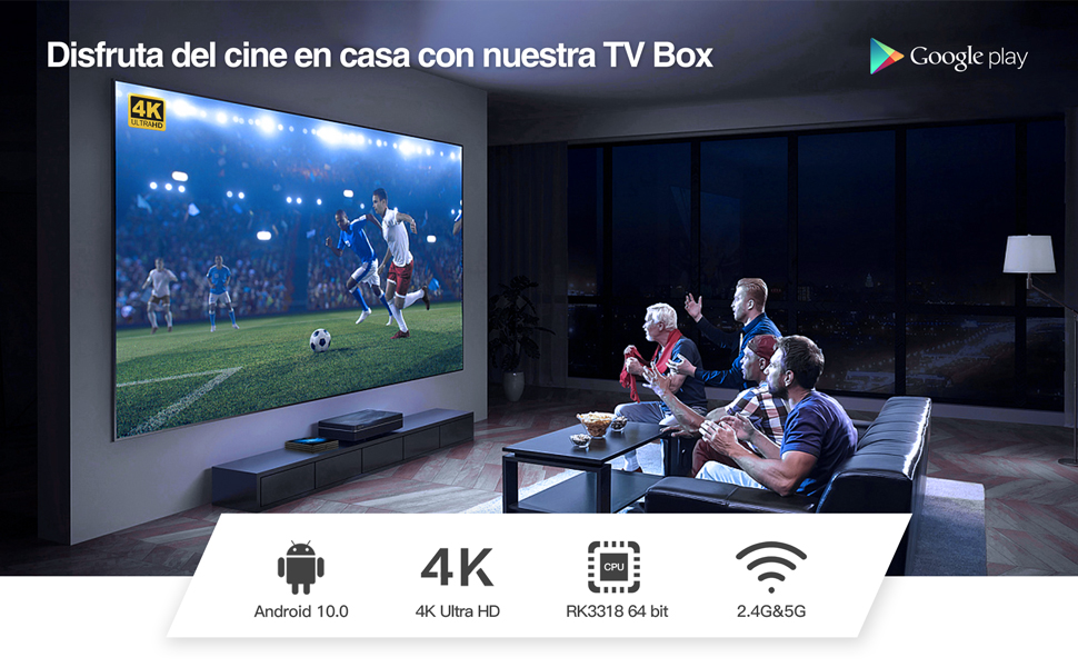 Última Versión Android TV Box 【4GB RAM+64GB ROM】 Bqeel Android 10.0 TV Box RK3318 Quad-Core 64bit Cortex-A53 con 5GHz / 2.4GHz WiFi ,BT 4.0,2k*4K UHD H.265, USB 3.0 Smart TV Box: Amazon.es: