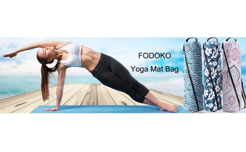FODOKO Yoga Mat Bag, Full Zip Exercise Yoga Mat Sling Bag with Pocket and Zipper, Adjustable Shoulder Strap Yoga Equipment Bag
