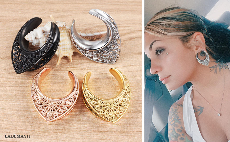 LADEMAYH Saddle Tunnels Plugs Hangers for Stretched Ears - Gold Opening Ears Gauges Body Piercing