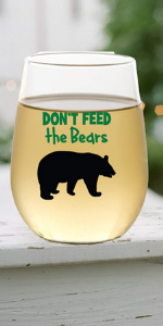 hiking bear wine glass mug cup plastic shatterproof