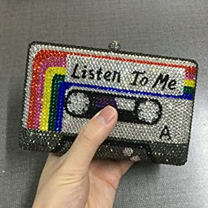 Handmade~Listen2ME Cassette Tape Clutch Women Crystal Evening Bags