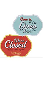 Vintage open closed sign for stores businesses hilarious witty welcome come in sorry we're closed