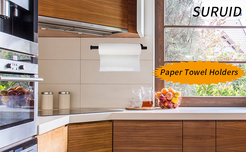 Kitchen Paper Towel Holder 13 Inch Under Cabinet Wall Mounted Stand Vertically or Horizontally