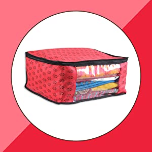 PrettyKrafts Saree Cover Set of 6 Prints Big Size/Wardrobe Organiser/Cloth Cover Red