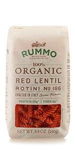 Organic Red Lentil Vegan Rotini Pasta
