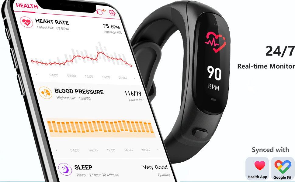 HR blood pressure sleep monitor