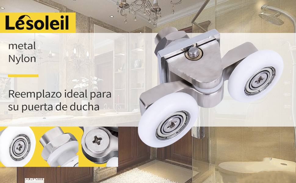 LESOLEIL Rodillos de repuesto para mampara de ducha en nylon aleación de zinc 4 piezas 25mm: Amazon.es: Bricolaje y herramientas