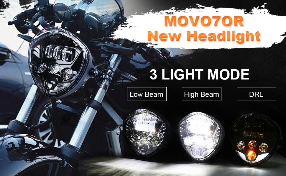 Movotor 17 8 Cm Motorrad Scheinwerfer Mit Halterungsklemme Roter Hintergrund Weißer Tagfahrlicht Fern Abblendlicht Für Universelles Motorrad Yamaha Cafe Racer Auto