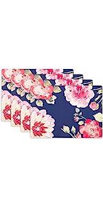 KAF Home Midnight Floral Print Cork Backed 4 Piece Place Mat Set