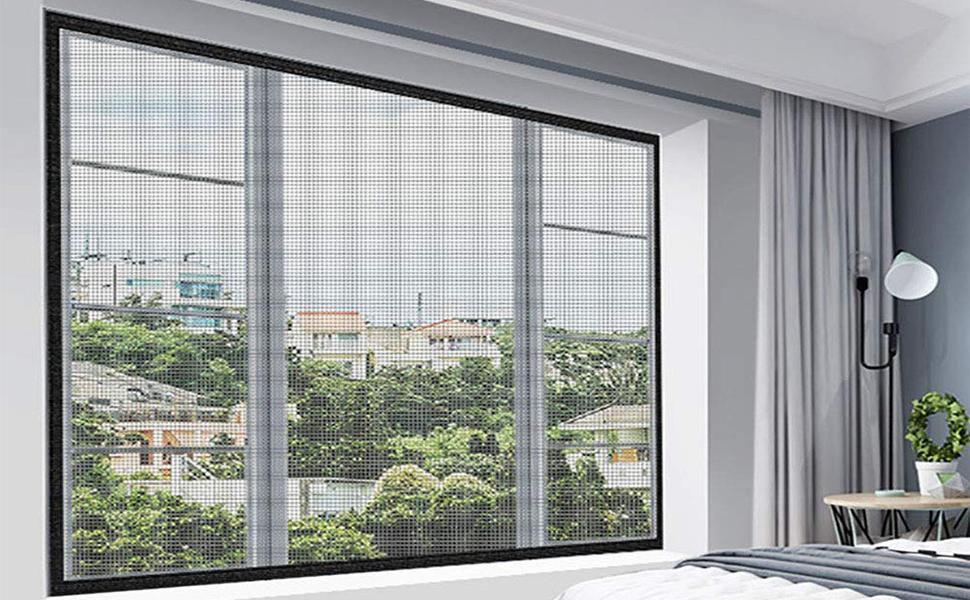 Fiberglass Window Screen Netting Mesh Curtain, DIY Self-Adhesive Window Net Screen mesh for windows