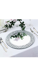 Mirror Glass Charger Plates