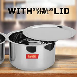 Large Size Stainless Steel Induction & Gas Stove Friendly Tope Set with Lids
