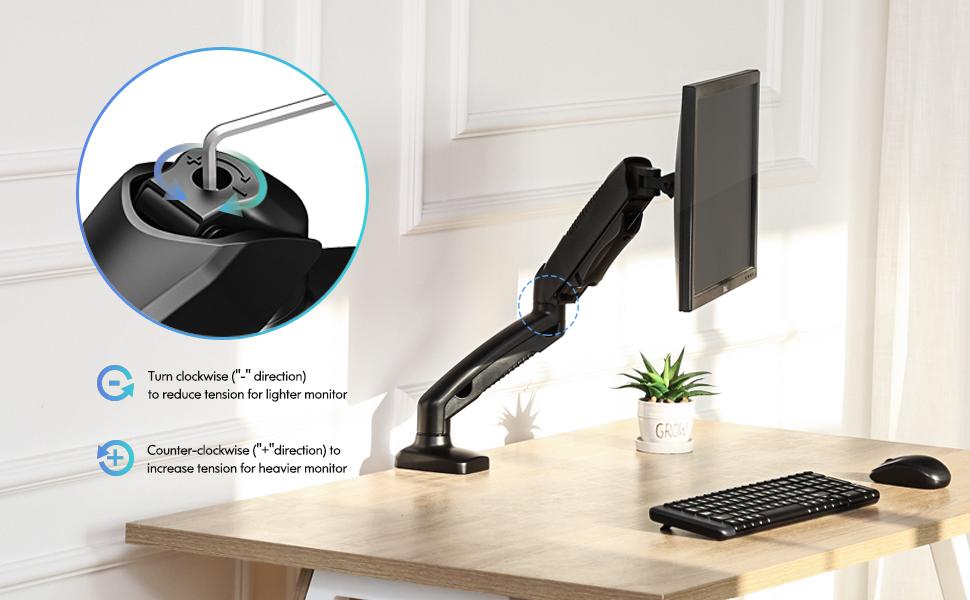 PC Monitor Arm Ergonomic Height Assisted Full Motion Single Arm Desktop Clamp Mount Swivel