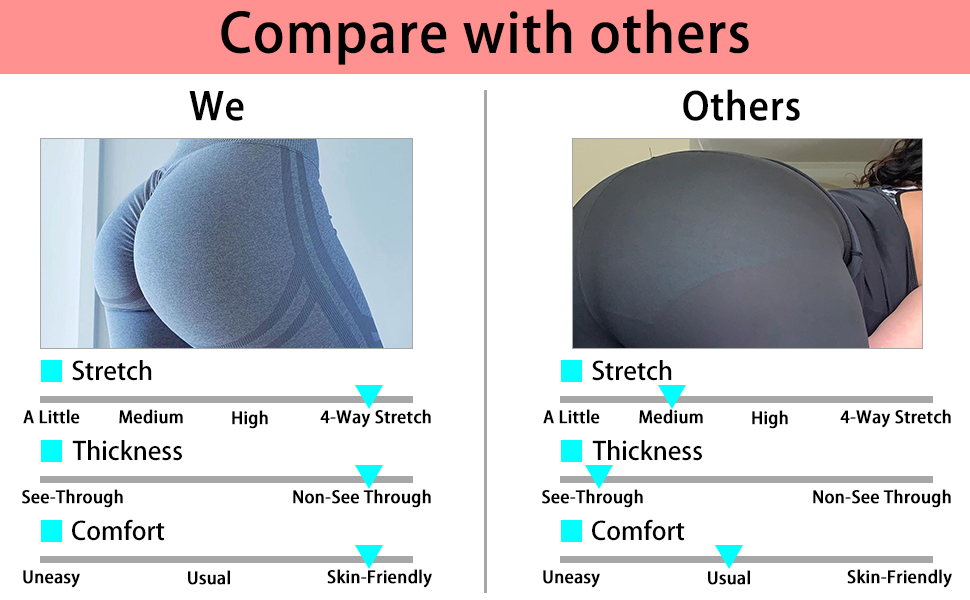 SQUAT PROOFseamless yoga pants pass the squat and bend tests,ultra stretch fit  non see-through