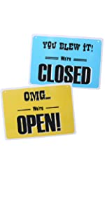 Funny open closed sign for stores businesses hilarious witty welcome come in sorry we're closed