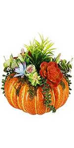 Thanksgiving Decorations Pumpkin with Plastic Succulents