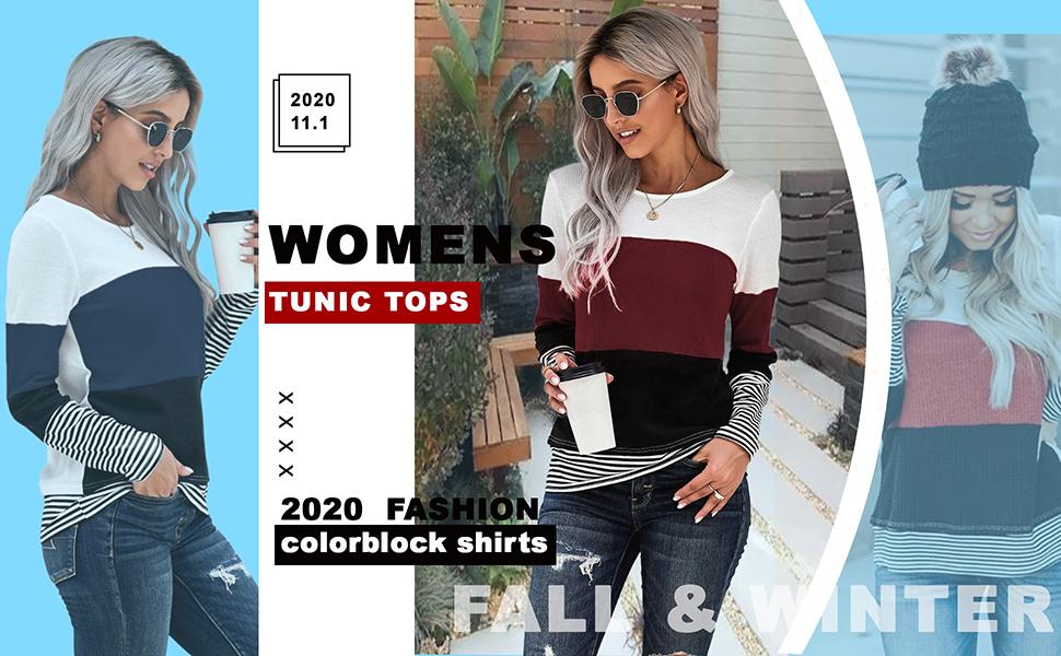 KINGFEN Womens Color Block Crewneck Tunic Tops