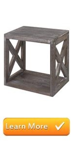 Rustic Wood Rectangular End Table with Vintage Grey Finish