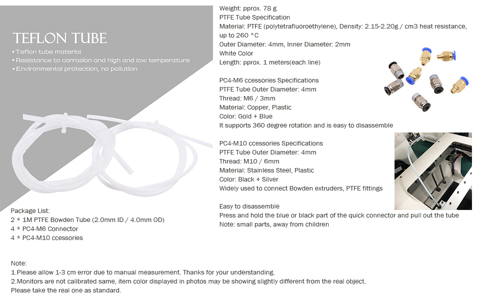 2Pcs PTFE Tube 4Pcs PC4-M6 Quick Fitting and 4Pcs PC4-M10 Straight Pneumatic Fitting Push 3D Printer for 1.75mm Filament UniGift