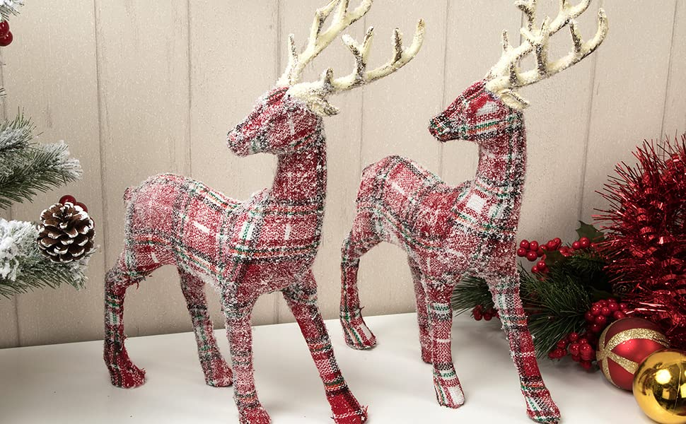 Arcci Plaid Reindeer Decorations Christmas Standing Deer Figurines 9 X 12 Reindeer Figure For Table Top Shelf Office Desk Holiday Decor Pack Of 2 Kitchen Dining