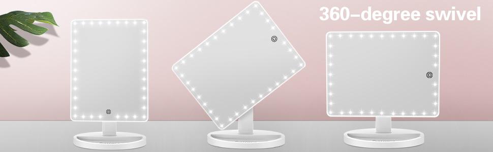 360 Degree Rotating Lighted Vanity Light up Desk Mirror