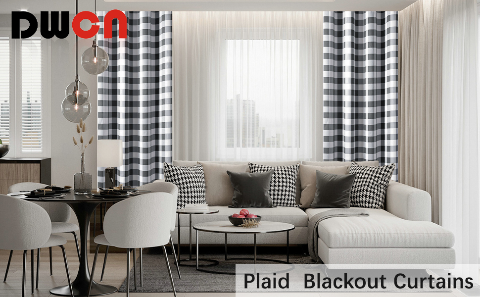 plaid blackout curtain