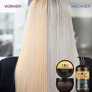 Vorher nachher Bild einer Frau im Friseursalon, Gelbstich wurde erfolgreich aus dem Haar entfernt