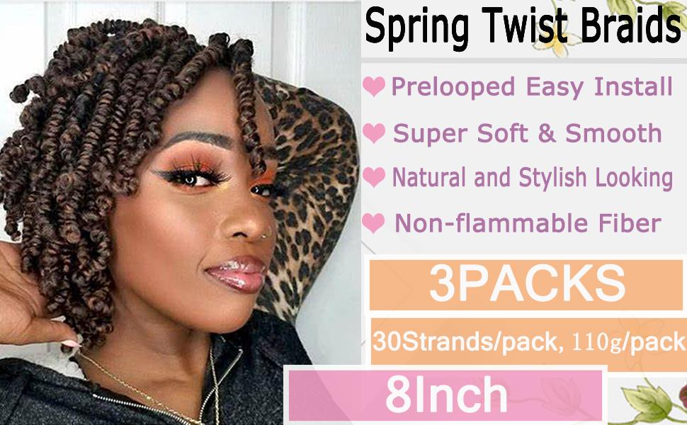 Spring Twist Crochet Braiding Hair 8 Inch Bomb Twist Crochet Braids