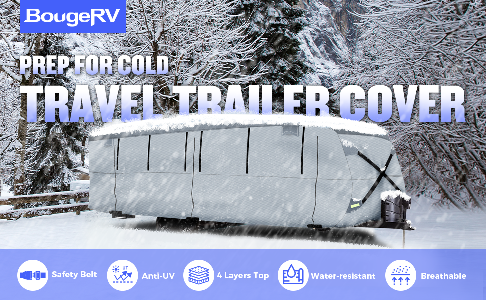BougeRV Travel Trailer RV Cover Camper Cover Snow Cover wATERPROOF