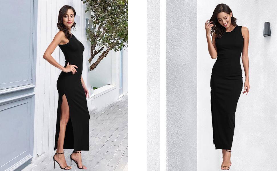Women's Summer High Slit Long Bodycon Dress