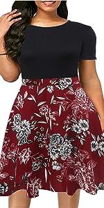 Plus size Short Sleeve a-line Floral Casual Party Dress