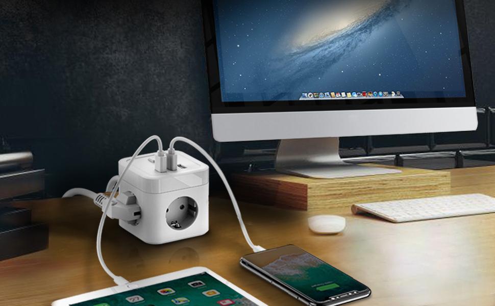Cube Regleta Enchufe con USB
