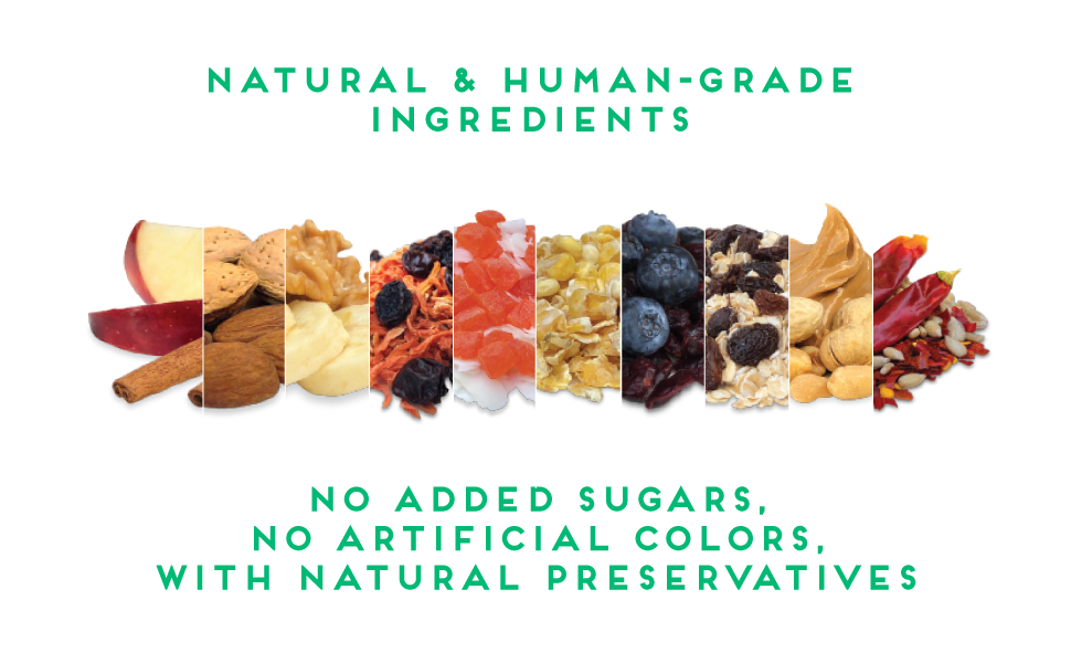 natural and human-grade ingredients no added sugars, artificial colors or preservatives