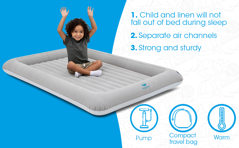 Travel bed with removable inner mattress, velvet flocking, hand pump, compact travel bag, warm