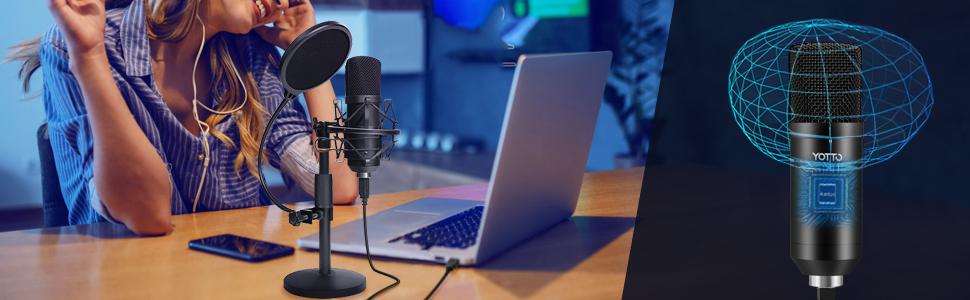 YOTTO Micrófono USB, PC Micrófono de Condensador para ordenador profesional 192KHz/24bit cardioide Micrófono con soporte de micrófono, filtro pop para Twitch Streaming, Podcasting, Youtube, Skype: Amazon.es: Instrumentos musicales