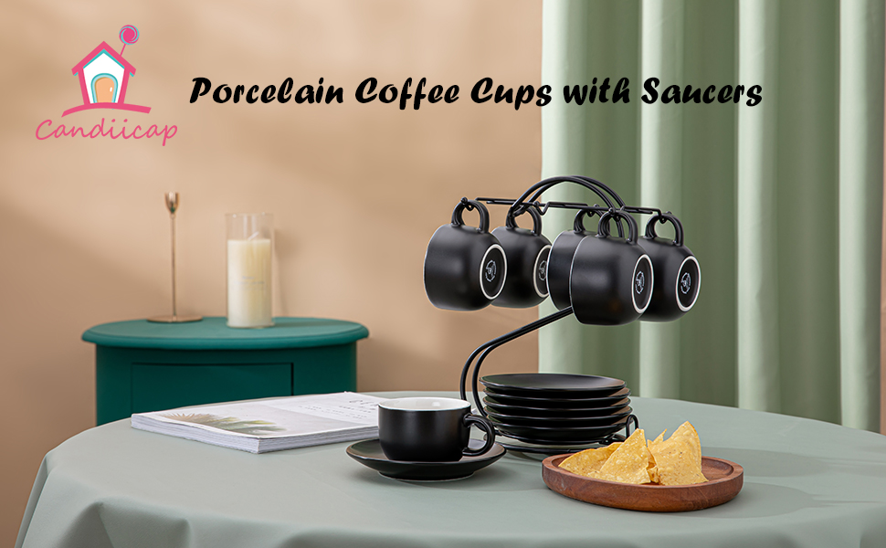 Porcelain Expresso Cups with Saucers