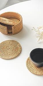 Rattan Coasters